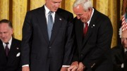 Arnold Palmer receiving Presidential Medal of Freedom from President Bush